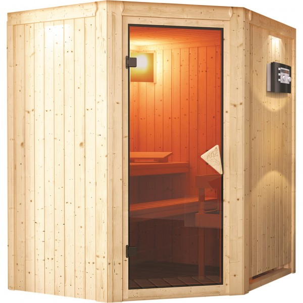 karibu sauna 230 volt tonja 1 75 x 1 52 m 68 mm mit 3 6 kw ofen energiesparsauna ebay. Black Bedroom Furniture Sets. Home Design Ideas