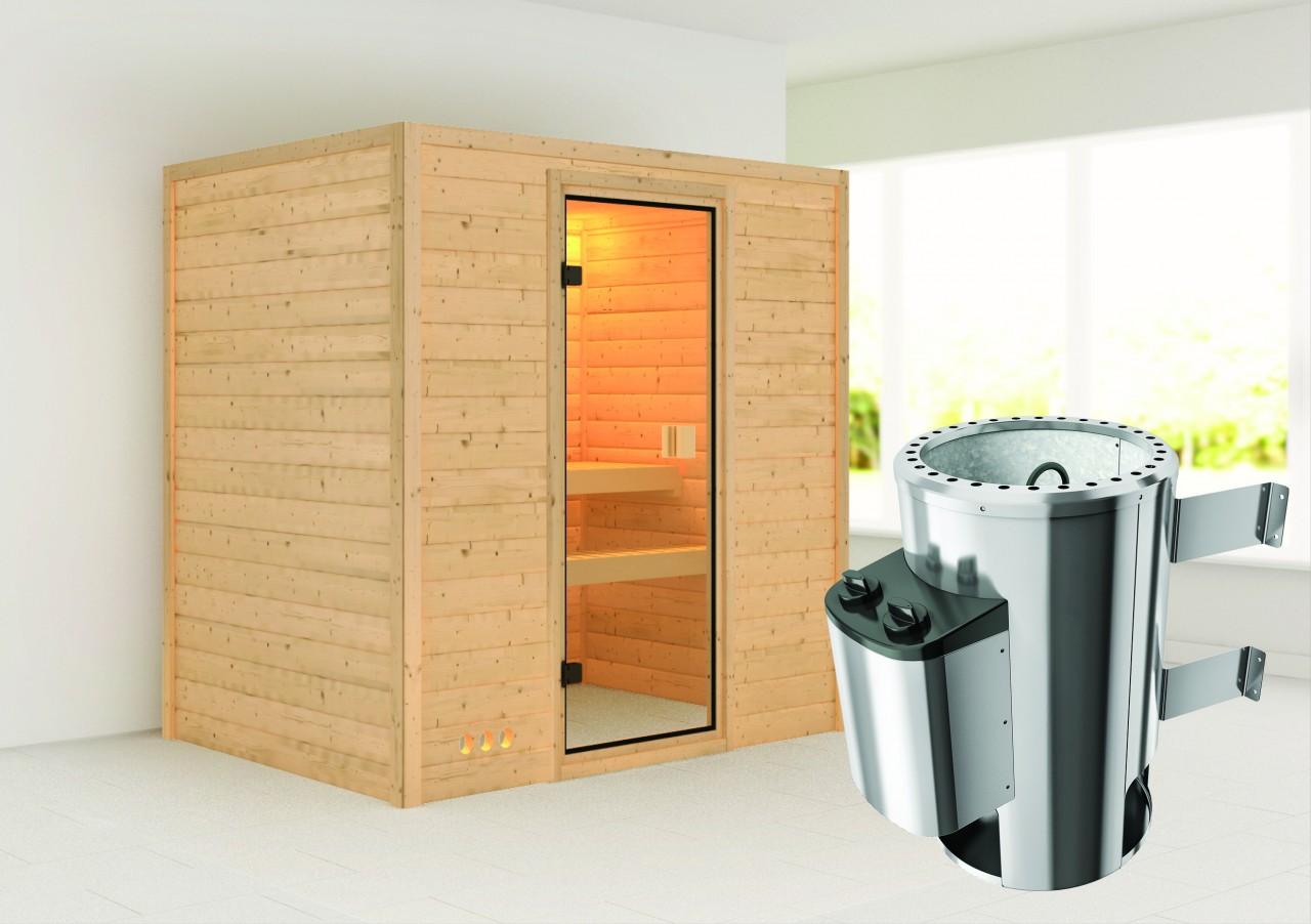 Sauna RONJA 1,96 x 1,46 m - 3.6 kW Ofen integr. Steuerung ohne Dachkranz